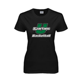Ladies Black T Shirt-Basketball
