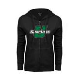 ENZA Ladies Black Fleece Full Zip Hoodie-Spartans U