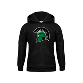 Youth Black Fleece Hoodie-Spartans Head
