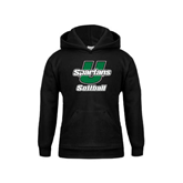 Youth Black Fleece Hoodie-Softball