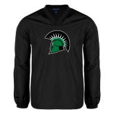 V Neck Black Raglan Windshirt-Spartans Head