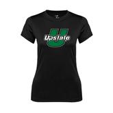 Ladies Syntrel Performance Black Tee-Upstate U