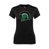 Ladies Syntrel Performance Black Tee-Spartans Head