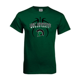 Dark Green T Shirt-Basketball Design Black