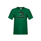 Youth Dark Green T Shirt-Upstate w/Spartan Head