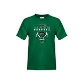 Youth Dark Green T Shirt-White Basketball Design