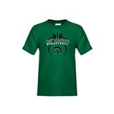Youth Dark Green T Shirt-Basketball Design Black