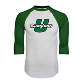 White/Dark Green Raglan Baseball T-Shirt-Spartans U