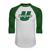 White/Dark Green Raglan Baseball T-Shirt-Upstate U