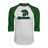 White/Dark Green Raglan Baseball T-Shirt-Upstate w/Spartan Head