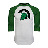 White/Dark Green Raglan Baseball T-Shirt-Spartans Head