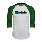 White/Dark Green Raglan Baseball T-Shirt-Upstate