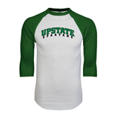 White/Dark Green Raglan Baseball T-Shirt-Upstate Spartans
