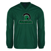 V Neck Dark Green Raglan Windshirt-Upstate w/Spartan Head