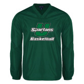 V Neck Dark Green Raglan Windshirt-Basketball