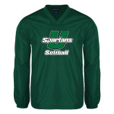 V Neck Dark Green Raglan Windshirt-Softball