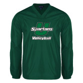 V Neck Dark Green Raglan Windshirt-Volleyball