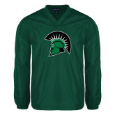 V Neck Dark Green Raglan Windshirt-Spartans Head