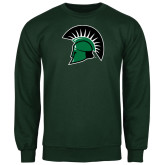 Dark Green Fleece Crew-Spartans Head