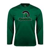Performance Dark Green Longsleeve Shirt-Upstate w/Spartan Head