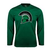 Performance Dark Green Longsleeve Shirt-Spartans Head