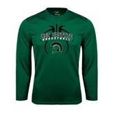 Performance Dark Green Longsleeve Shirt-Basketball Design Black