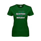 Ladies Dark Green T Shirt-Volleyball