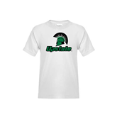 Youth White T Shirt-Upstate w/Spartan Head