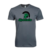 Next Level SoftStyle Charcoal T Shirt-Upstate w/Spartan Head