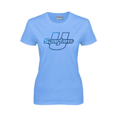 Ladies Sky Blue T Shirt-Spartans U