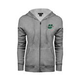 ENZA Ladies Grey Fleece Full Zip Hoodie-Spartans U