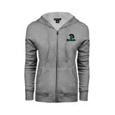 ENZA Ladies Grey Fleece Full Zip Hoodie-Upstate w/Spartan Head
