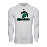 Under Armour White Long Sleeve Tech Tee-Upstate w/Spartan Head