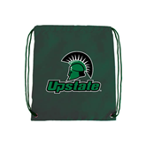 Dark Green Drawstring Backpack-Upstate w/Spartan Head