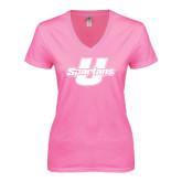 Next Level Ladies Junior Fit Ideal V Pink Tee-Spartans U