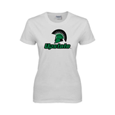 Ladies White T Shirt-Upstate w/Spartan Head