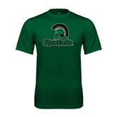 Performance Dark Green Tee-Upstate w/Spartan Head