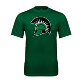 Performance Dark Green Tee-Spartans Head