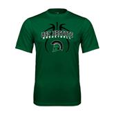 Performance Dark Green Tee-Basketball Design Black