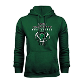 Dark Green Fleece Hood-White Basketball Design