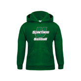 Youth Dark Green Fleece Hoodie-Softball