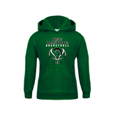 Youth Dark Green Fleece Hoodie-White Basketball Design