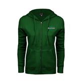 ENZA Ladies Dark Green Fleece Full Zip Hoodie-Spartans U