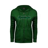ENZA Ladies Dark Green Fleece Full Zip Hoodie-Upstate