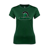 Ladies Performance Dark Green Tee-Upstate w/Spartan Head