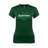 Ladies Performance Dark Green Tee-Spartans U Distressed