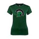 Ladies Performance Dark Green Tee-Spartans Head