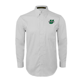 White Twill Button Down Long Sleeve-Upstate U