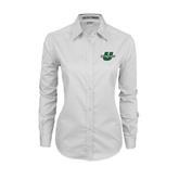 Ladies White Twill Button Down Long Sleeve-Spartans U