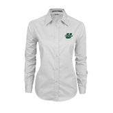 Ladies White Twill Button Down Long Sleeve-Upstate U